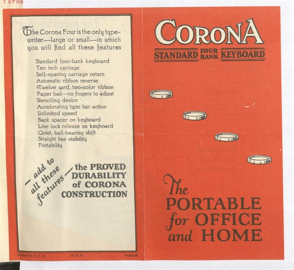 En annons för skrivmaskinen Corona.