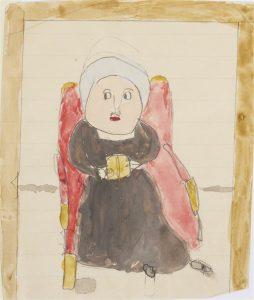 Teckning som Wilhelmina von Hallwyls barnbarn Margit ritade av sin mormor. Nu finns teckningen i arkivet.