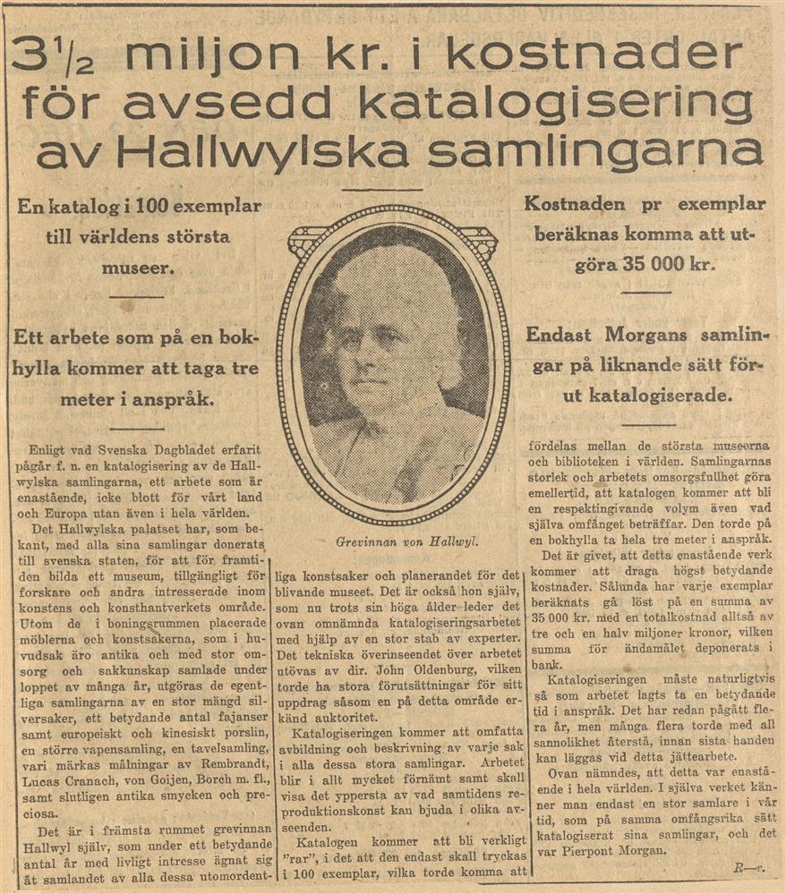 """Bild av tidningsurklipp med rubriken """"3 1/2 miljon kr. i kostnader för avsedd katalogisering av Hallwylska samlingarna"""" och ett porträtt att Wilhelmina von Hallwyl."""