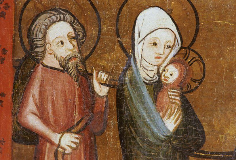 Bild av medeltida kalkmålning från kyrka.